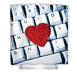 Heart On Keyboard Shower Curtain