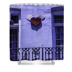 Heart On Wall Shower Curtain by Garry Gay