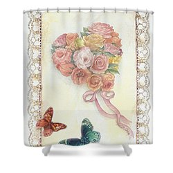 Shower Curtain featuring the painting Heart Shape Bouquet With Butterfly by Judith Cheng