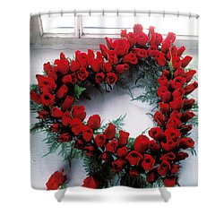 Heart Shape Made Of Roses Shower Curtain by Garry Gay