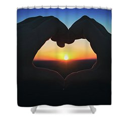 Heart Shaped Hand Silhouette - Sunset At Lapham Peak - Wisconsin Shower Curtain by Jennifer Rondinelli Reilly - Fine Art Photography