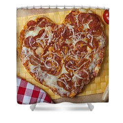 Heart Shaped Pizza Shower Curtain by Garry Gay