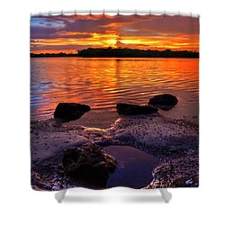 Heart Shaped Pool At Sunset Over Lake Worth Lagoon On Singer Island Florida Shower Curtain