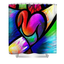 Heart Vectors Shower Curtain by AC Williams