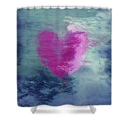 Heart Waves Shower Curtain by Linda Sannuti