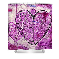 Shower Curtain featuring the painting Hearts Abstract by Lita Kelley