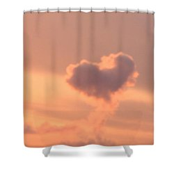 Shower Curtain featuring the photograph Hearts In The Clouds by Barbara Tristan