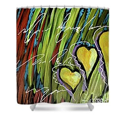 Hearts In The Grass Shower Curtain