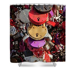 Hearts Locked In Love Shower Curtain