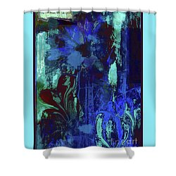 Red Heart- Blue Flowers Shower Curtain