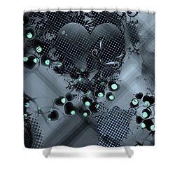 Hearts N' Vines Green Shower Curtain