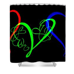 Hearts On Black Shower Curtain