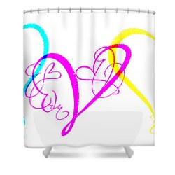 Hearts On White Shower Curtain