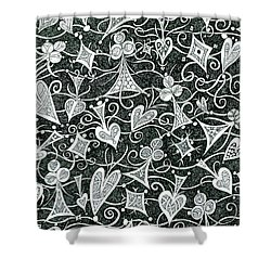 Hearts, Spades, Diamonds And Clubs In Black Shower Curtain by Lise Winne