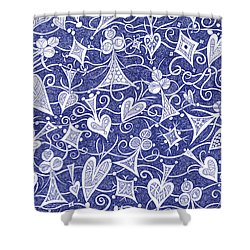 Hearts, Spades, Diamonds And Clubs In Blue Shower Curtain by Lise Winne