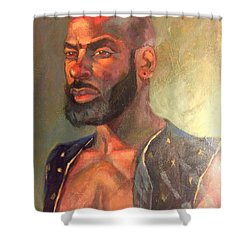 Shower Curtain featuring the painting Heat Merchant by JaeMe Bereal