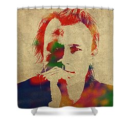 Heath Ledger Watercolor Portrait Shower Curtain