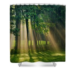Heavenly Light Sunrise Shower Curtain by Christina Rollo