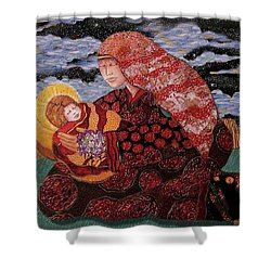 Heavenly Mother And Child Shower Curtain by Dede Shamel Davalos