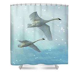 Heavenly Swan Flight Shower Curtain