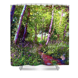 Shower Curtain featuring the painting Heavenly Walk Among Birch And Aspen by Jane Small