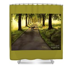 Serenity - Walk With Black Labrador Shower Curtain