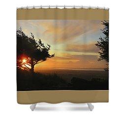 Heaven's Handiwork - Oregon Coast Sunset - Nature Photography Shower Curtain