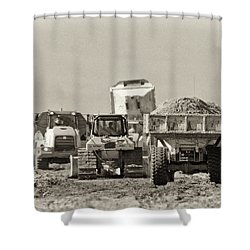 Heavy Equipment Meeting Shower Curtain by Patrick M Lynch