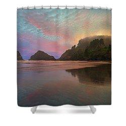 Heceta Head Lighthouse Foggy Sunset Shower Curtain by David Gn