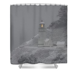Heceta Lighthouse Snowstorm Shower Curtain