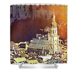 Shower Curtain featuring the painting Heidelberg Sunset- Germany by Ryan Fox