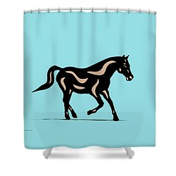Heinrich - Pop Art Horse - Black, Hazelnut, Island Paradise Blue Shower Curtain