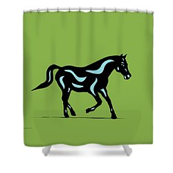 Heinrich - Pop Art Horse - Black, Island Paradise Blue, Greenery Shower Curtain