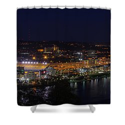 Heinz Field At Night From Mt Washington Shower Curtain