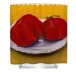 Shower Curtain featuring the drawing Heirloom Tomatoes by Anastasiya Malakhova