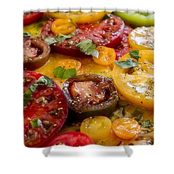 Heirloom Tomatoes With Basil Shower Curtain
