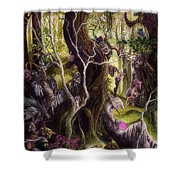 Shower Curtain featuring the painting Heist Of The Wizard's Staff by Curtiss Shaffer