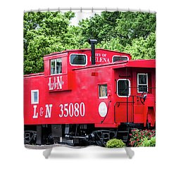 Shower Curtain featuring the photograph Helena Red Caboose by Parker Cunningham