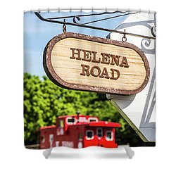 Shower Curtain featuring the photograph Helena Road Sign by Parker Cunningham