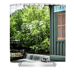 Shower Curtain featuring the photograph Helena Sign By Buck Creek by Parker Cunningham