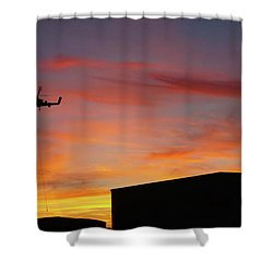 Helicopter And The Sunset Shower Curtain by Angi Parks
