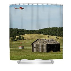 Helicopter Dips Water At Heliwell Shower Curtain