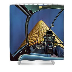 Helicopter On Skyscaper Facade Shower Curtain