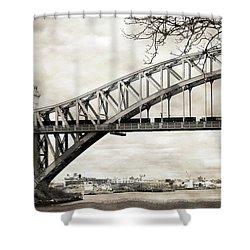 Hellgate Bridge In Sepia Shower Curtain