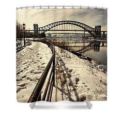 Hellgate Bridge In Winter Shower Curtain