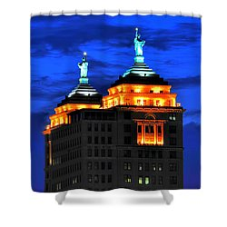 Hello Goodbye In Stormy Skies Atop The Liberty Building Shower Curtain