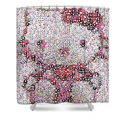 Hello Kitty Button Mosaic Shower Curtain by Paul Van Scott