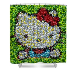 Hello Kitty Mm Candy Mosaic Shower Curtain by Paul Van Scott