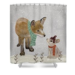 Shower Curtain featuring the painting Hello Mr Fox by Bri B
