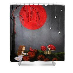 Red Moon By Sannel Larson Shower Curtain